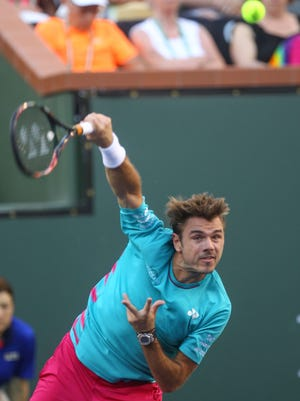 Stan Wawrinka serves during his win over Phillipp Kohlschreiber at the BNP Paribas Open in Indian Wells, March 13, 2017.
