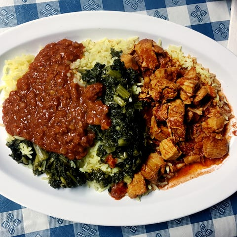 A popular plate at the Ajora Ethiopian Kitchen in...