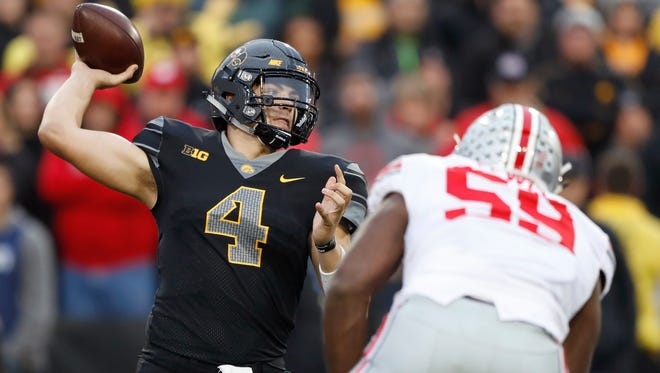 Iowa quarterback Nathan Stanley, of Menomonie, Wis., has 22 touchdown passes and only four interceptions and is averaging 214.3 yards per game headed into the contest against Wisconsin.