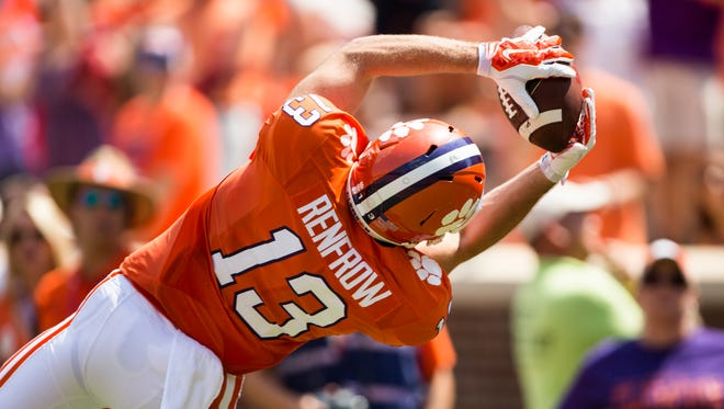 Clemson wide receiver Hunter Renfrow (13) catches a pass by Clemson quarterback Deshaun Watson (4) making a touchdown at the Clemson game against Troy on Saturday, September 10, 2016 in Clemson.