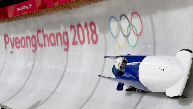The Team France bobsled team practices at the Olympic Sliding Centre in advance of the PyeongChang 2018 Olympic Winter Games.
