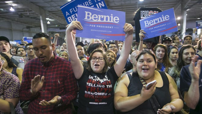 Bernie Sanders has tapped into Millennial enthusiasm, including at a Phoenix rally in March 2016.