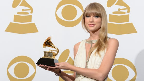 Singer Taylor Swift poses with her trophy for best