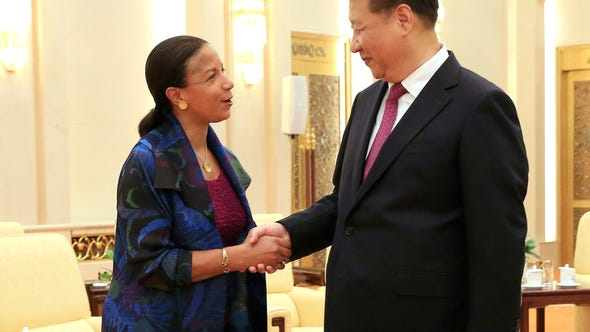 National Security Advisor Susan Rice, left, and Chinese
