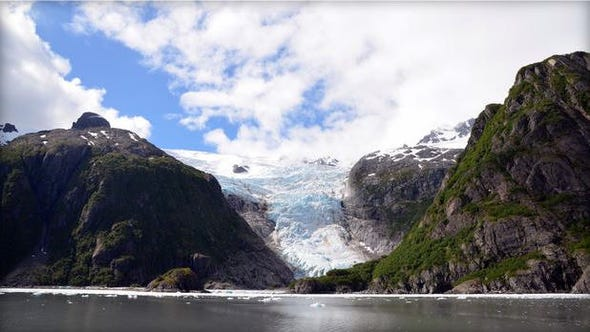 View of a glacier in the Kenai fjord of southern Alaska