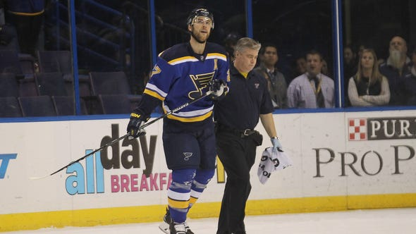 St. Louis Blues Alex Pietrangelo is helped off the
