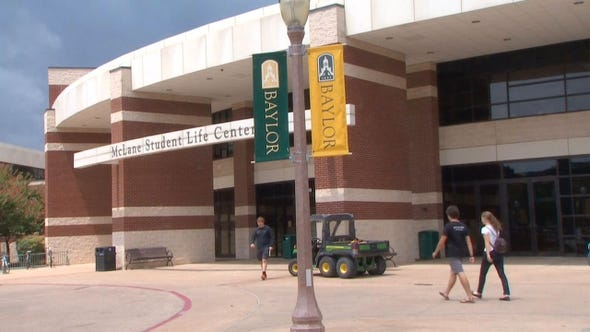 Students on the Baylor University campus in Waco.