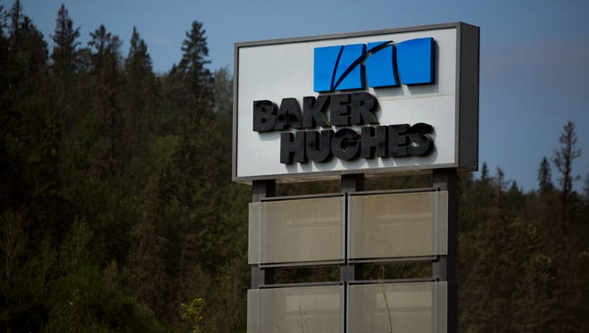 File photo taken in 2013 shows a Baker Hughes office in Fort McMurray, Alberta, Canada.