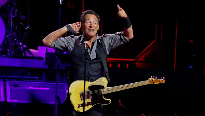 Bruce Springsteen performs with the East Street Band in the first stop of his River Tour 16 concert on Saturday, Jan. 16, 2016, in Pittsburgh.