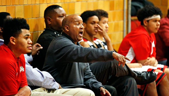 """Byron Looney has been coaching the Central High School junior varsity boys basketball team for 30 years, and is set to retire after the end of this season. Here he is seen coaching a Bulldogs game against  the Glendale Falcons at """"The Pit"""" in Springfield, Mo. on Feb. 23, 2016."""