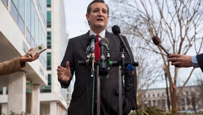 Republican presidential candidate, Sen. Ted Cruz, R-Texas speaks to the media about events in Brussels, Tuesday, March 22, 2016, near the Capitol in Washington.