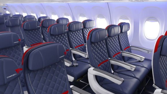 An image of Delta's updated Delta Comfort+ seats.