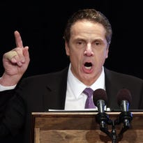 Gov. Andrew Cuomo, shown Jan. 13 as he delivers his State of the State address and executive budget proposal at the Empire State Plaza Convention Center in Albany.