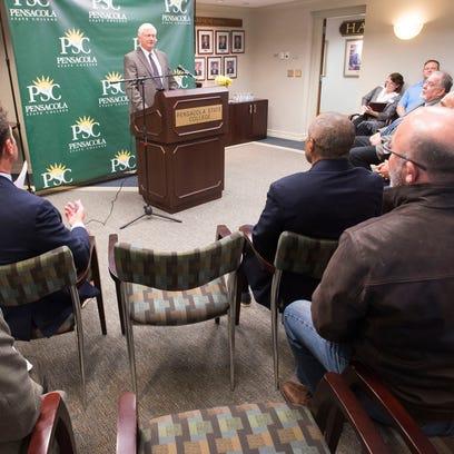 Pensacola State College President Ed Meadows announces