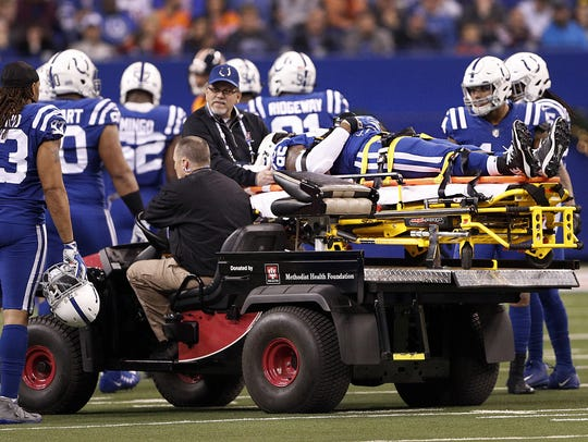 Indianapolis Colts tight end Brandon Williams is tended