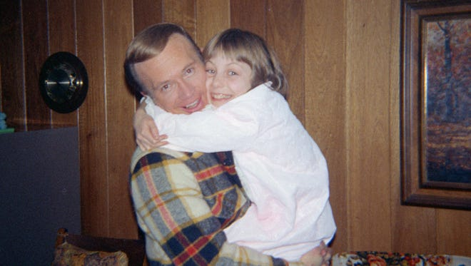 "Jan Broberg is shown here as a child in a photo from the film ""Forever, 'B',"" posing with Robert Berchtold, the man accused of abducting her twice."