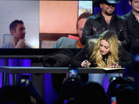 Madonna onstage at the Tidal launch event #TIDALforALL at Skylight at Moynihan Station on March 30, 2015, in New York City.