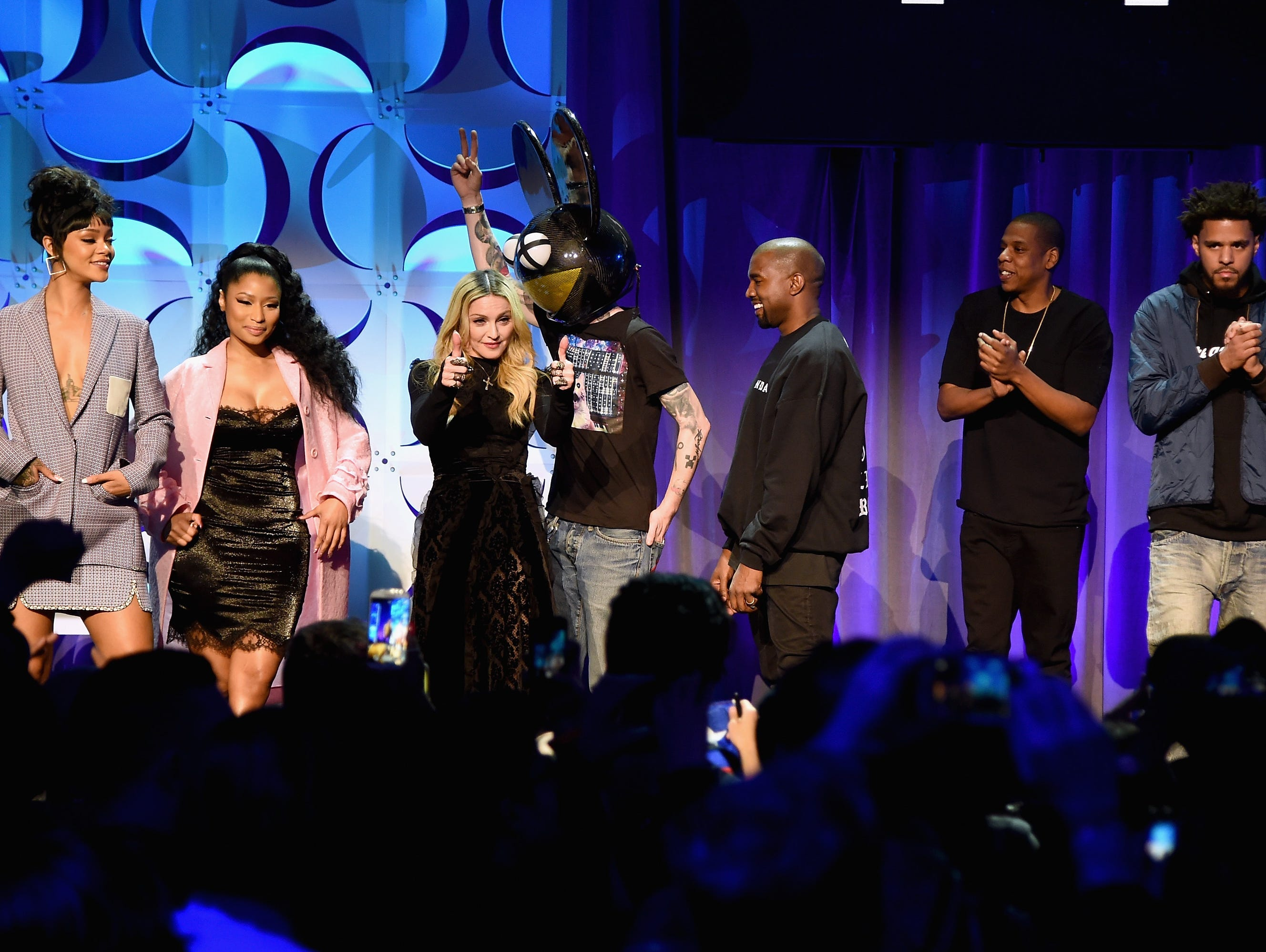 (L-R) Rihanna, Nicki Minaj, Madonna, Deadmau5, Kanye West, JAY Z, and J. Cole onstage at the Tidal launch event at Skylight at Moynihan Station on March 30, 2015 in New York City.