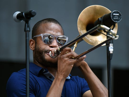 Trombone Shorty performs onstage during the Foo Fighters