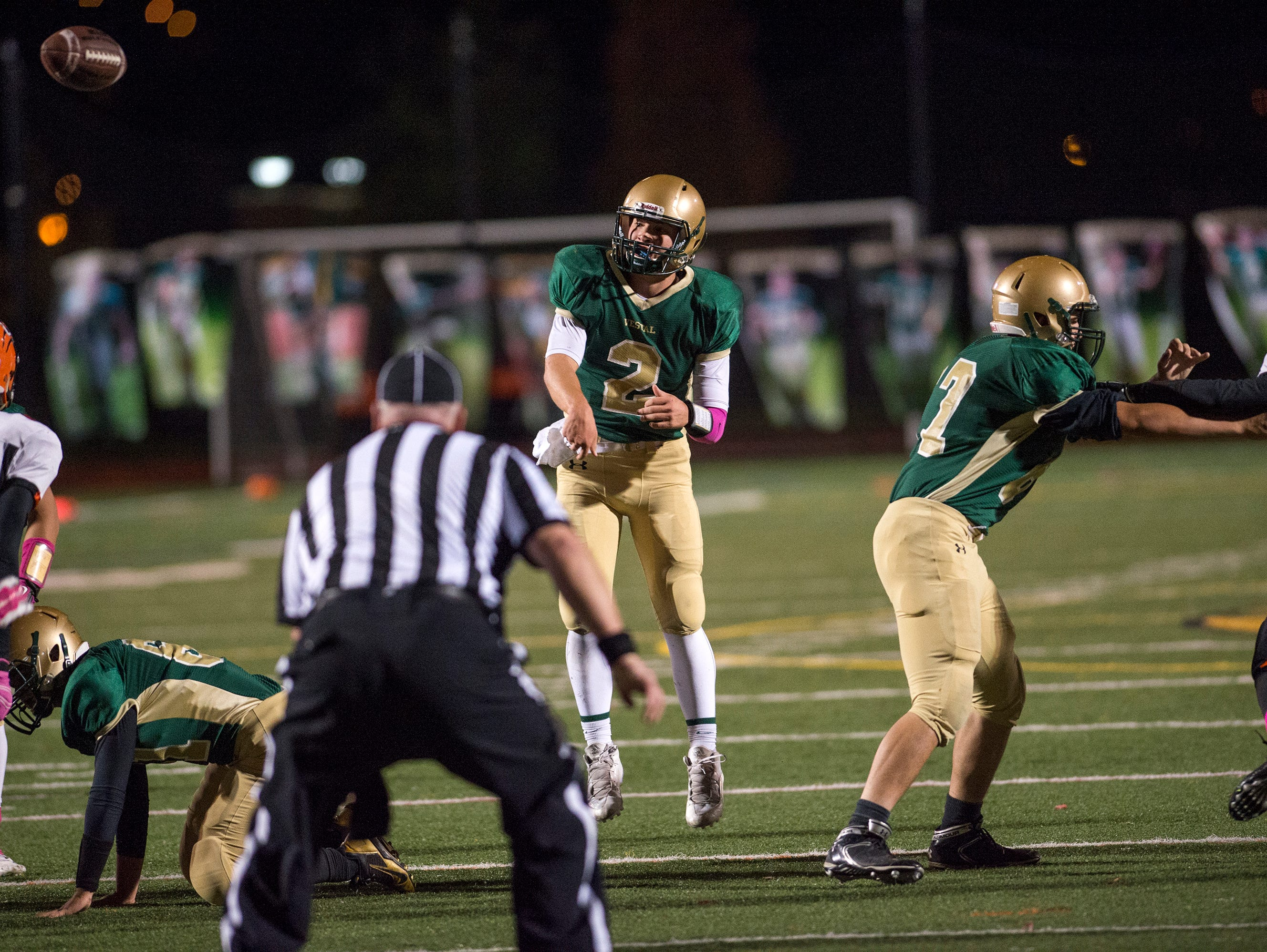 Vestal quarterback TJ Wegmann throws a pass during the second quarter of the Golden Bears 28-6 win over Union-Endicott at home on Friday, Oct. 9, 2015.