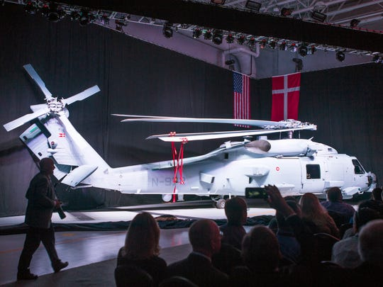 Lockheed Martin's Owego plant produces, in concert with Sikorsky Aircraft, the MH-60R helicopter, a shipboard aircraft designed for sub-hunting and search-and-rescue missions. This is photo from October 2015, when the plant delivered its first unit to the Danish Navy.