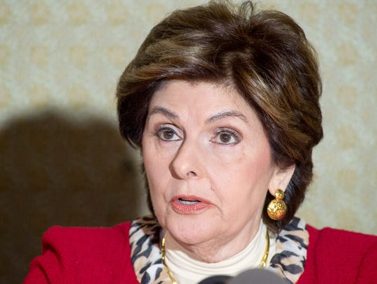 Gloria Allred at press conference with new accusers