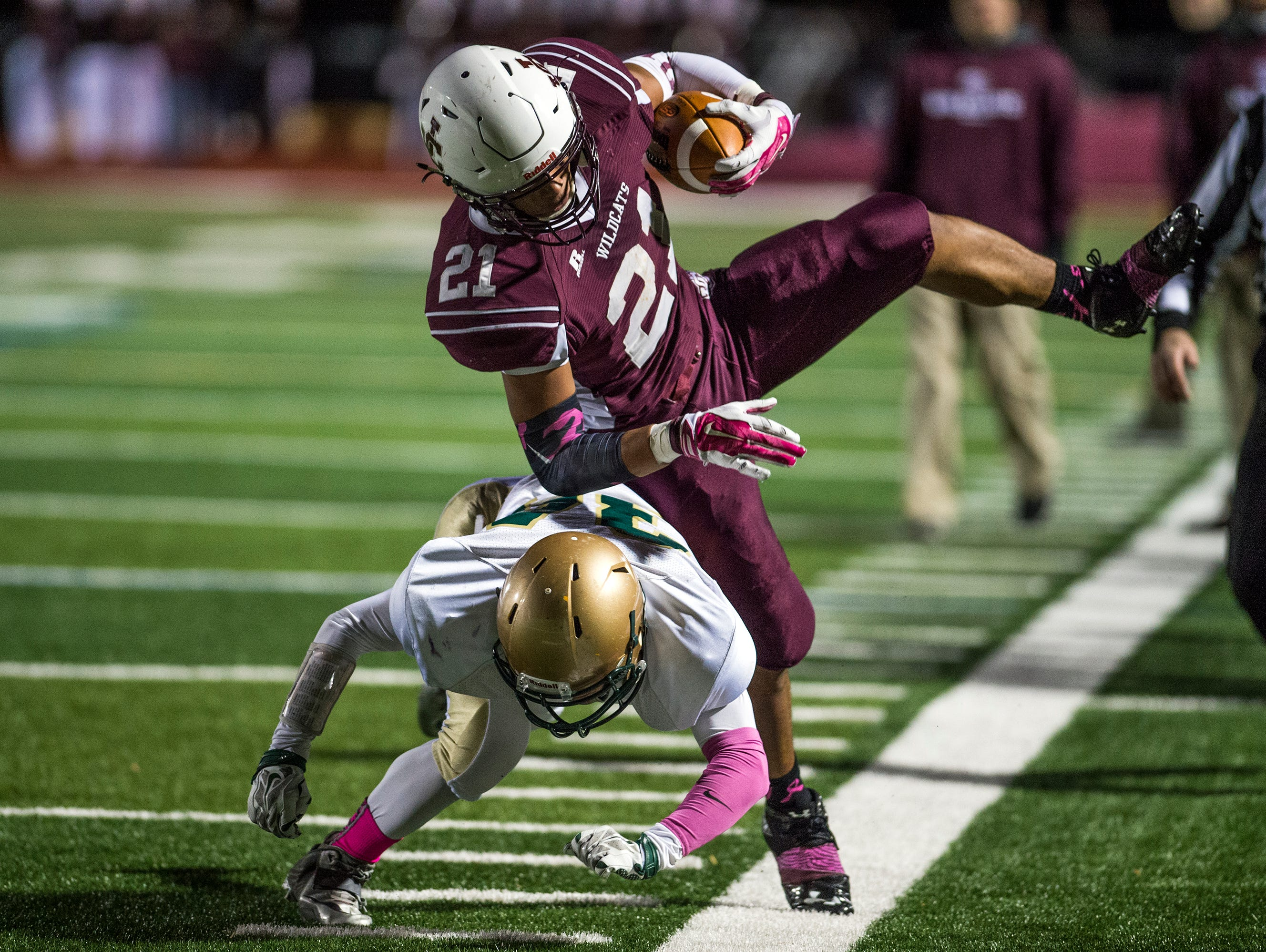 Johnson City running back Shafeeq Hosea is knocked out of bounds during the second quarter of JC's 29-6 win over Vestal in the Section 4 Class A semifinal playoff game on Friday.