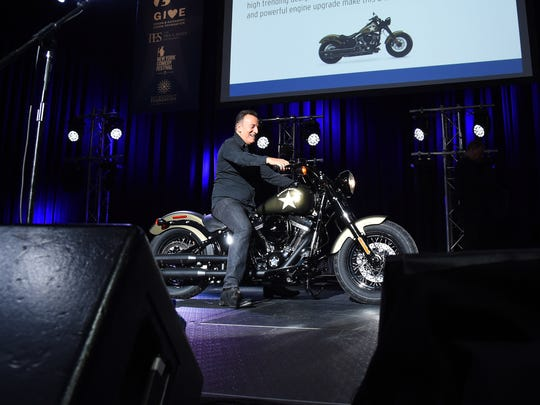 Bruce Springsteen on a Harley at the Bob Woodruff Foundation's 9th Annual Stand Up For Heroes event on November 10, 2015 in New York City.