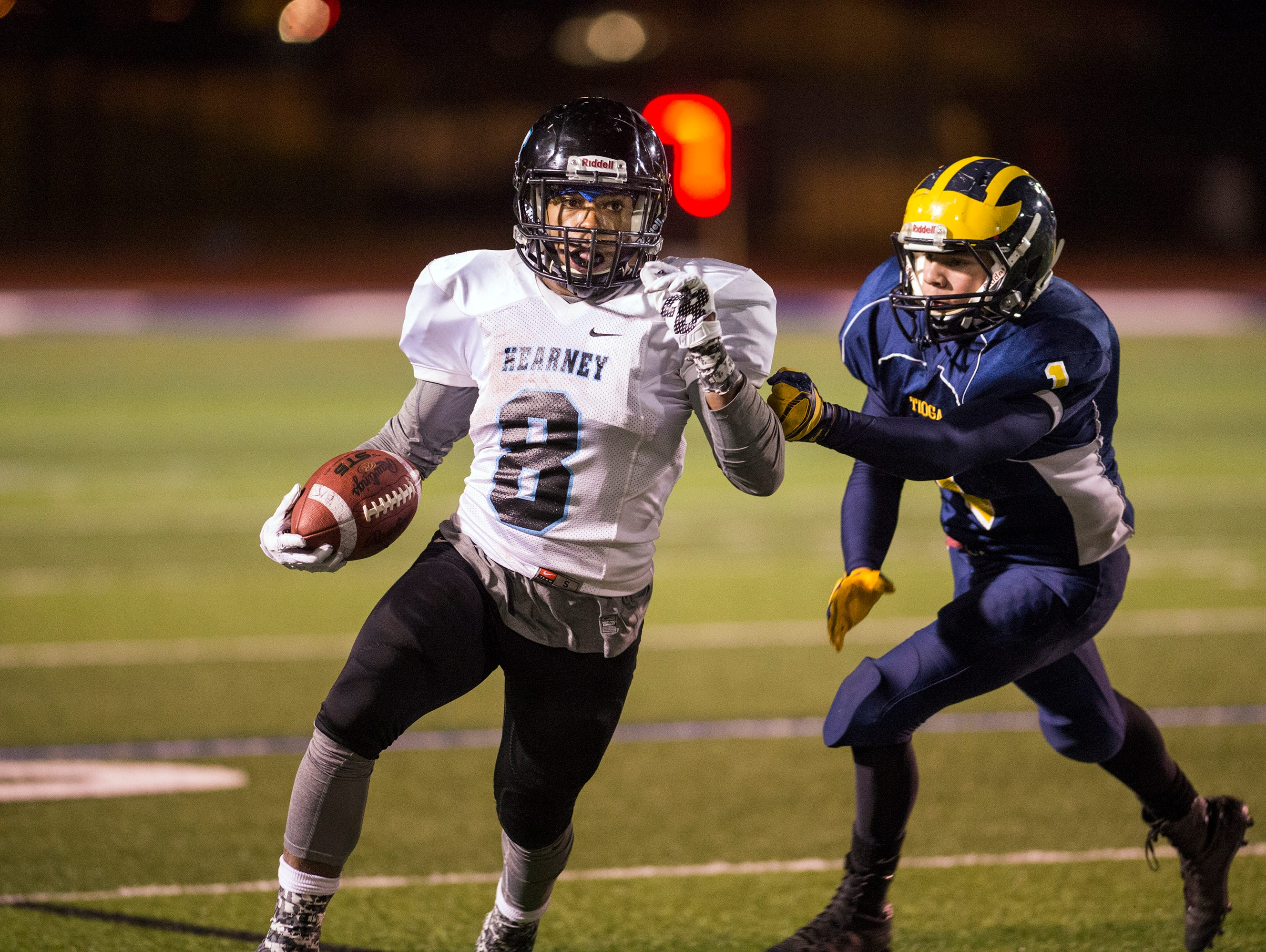 Bishop Kearney running back Dahmir Pross rushes the ball during the fourth quarter against Tioga in the Class D state playoff semifinals at Cicero-North in Syracuse on Friday, Nov. 20, 2015.