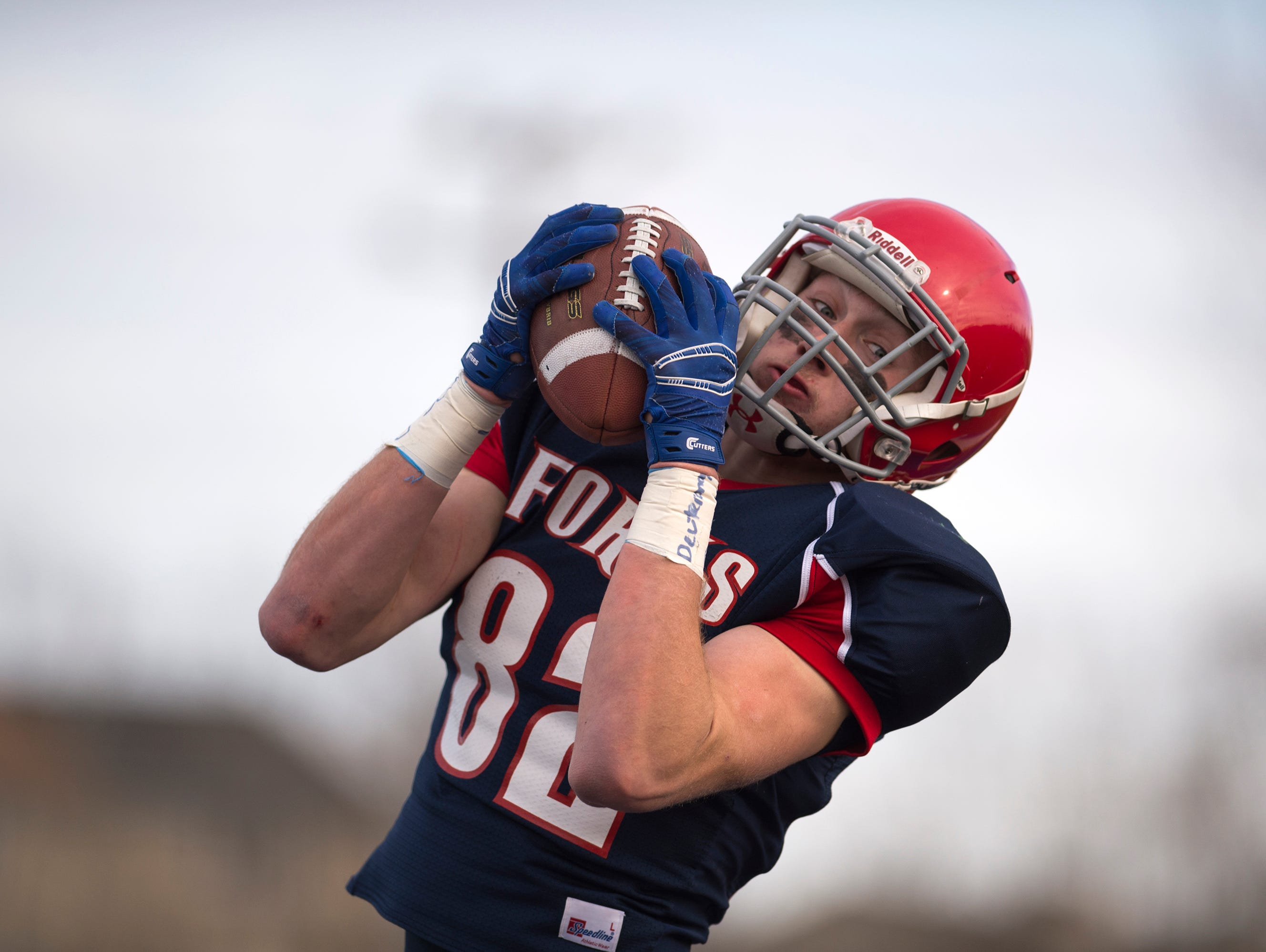Chenango Forks tight end Trevor Borchardt hauls in a pass for a touchdown during the first quarter of the Class C state playoff semifinal against Bath on Saturday, Nov. 21, 2015.