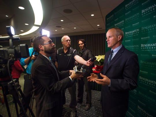 Binghamton University President Harvey Stenger speaks