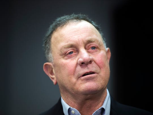 Former US Rep Richard Hanna speaks at a news conference in Binghamton in 2015.