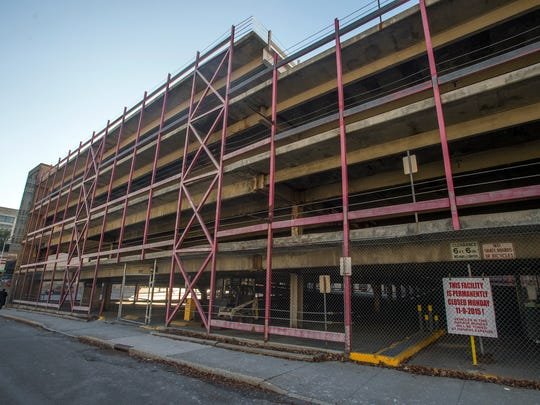The Collier Street parking garage, which the City of Binghamton has closed.