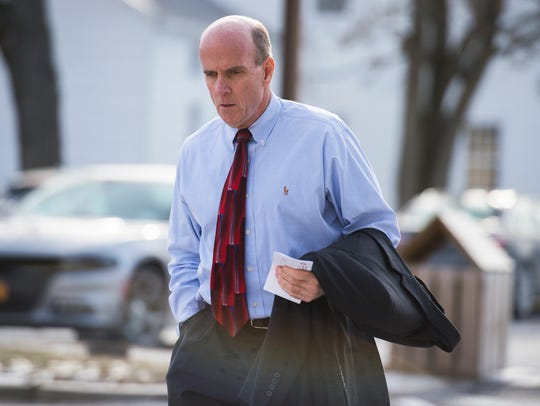 Cal Harris enters Schoharie County Court before a pre-trial