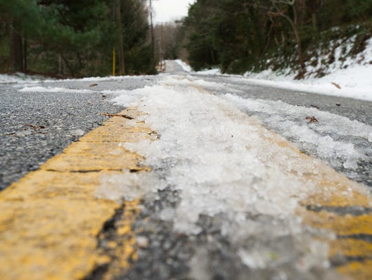 Icy patches form on roads