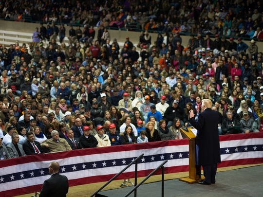 Republican presidential candidate Donald Trump speaks at a rally at the T. Ed Garrison Livestock Arena in Clemson on Wednesday, February 10, 2016.