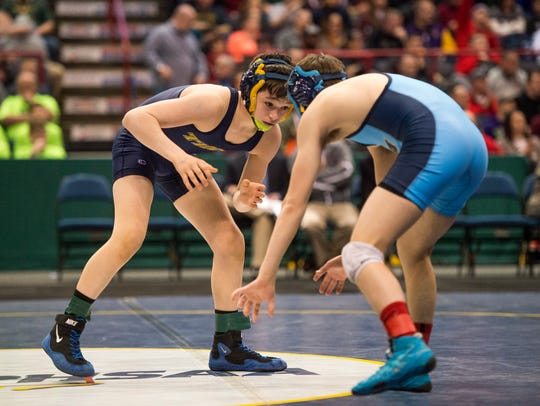 Tioga senior John Worthing, left, seen here wrestling Central Valley Academy's Jon Charles in the 2016 Division II 99-pound state final, will attempt to win his fourth straight sectional title this weekend. The Section 4 Division II state qualifier begins at 5 p.m. Friday at Windsor.