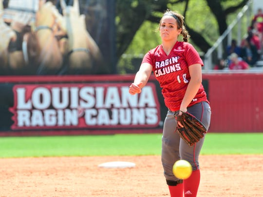Starting pitcher Alex Stewart as the Cajuns Softball takes on South Alabama at Lamson Field. March 13, 2016.
