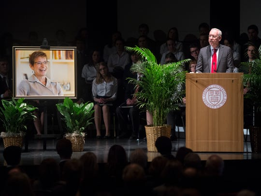 Provost and Acting President of Cornell University Michael Kotlikoff speaks during a memorial service for University President Elizabeth Garrett at Bailey Hall on Thursday, March 17, 2016.