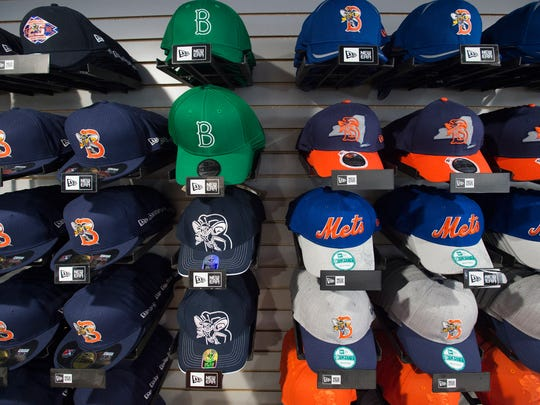 Mets hats for sale in the newly remodeled store at NYSEG Stadium.