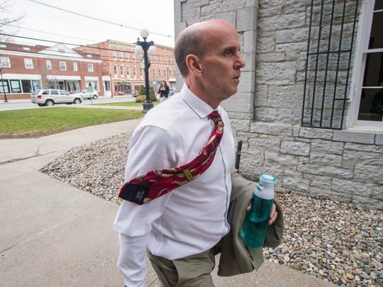 Cal Harris enters Schoharie County Court before opening