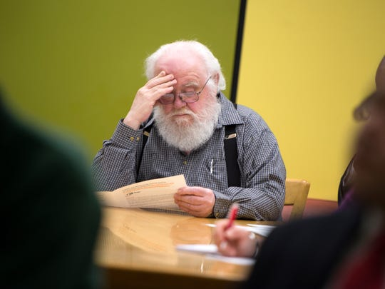 Van Etten resident and former IBM Fishkill employee Frank Patterson, 75, listens as the results of a NIOSH study of birth defects among children of former Endicott IBM employees are discussed at George F. Johnson Memorial Library in Endicott on Thursday, May 26, 2016.