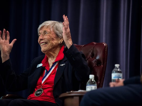 Dawn Seymour, an original Women's Air Force Service Pilot (WASP) and former B-17 pilot, speaks during the Gathering of Eagles on Wednesday, Jun. 1, 2016 at Maxwell Air Force Base in Montgomery, Ala.