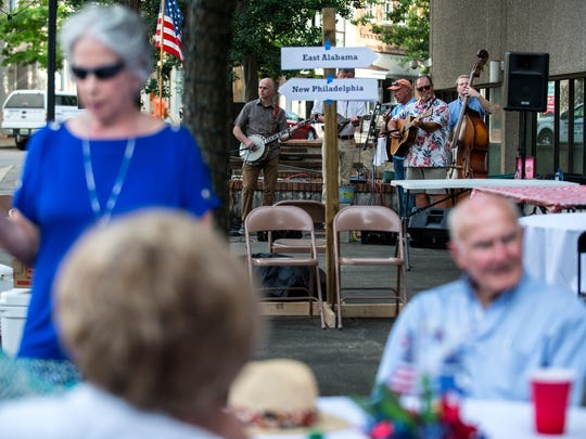 A band plays during a fundraiser for the Montgomery Historical Society on Thursday, Jun. 9, 2016 in Montgomery, Ala.