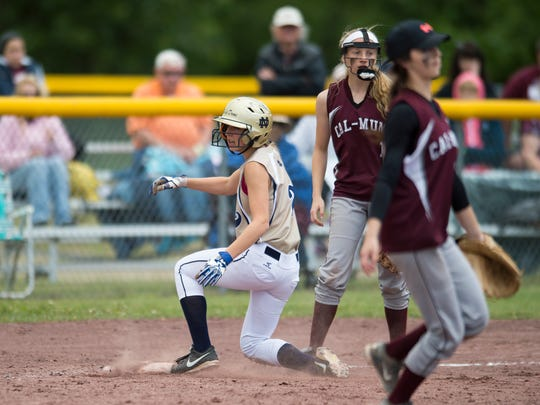 Elmira Notre Dame won the Class C state softball championship on Sunday, defeating Cal-Mum 8-6 in South Glens Falls.