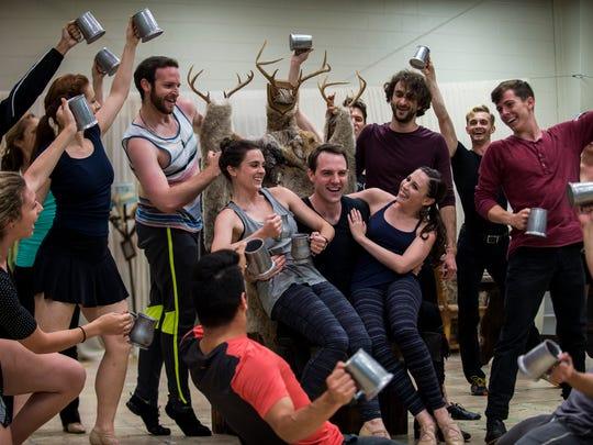 "Actors perform the number for Gaston in a rehearsal for ""Beauty and the Beast"" on Wednesday, Jun. 15, 2016 at the Alabama Shakespeare Festival theater in Montgomery, Ala."