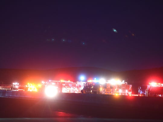 Firefighters respond Tuesday night to a brush fire off of Highway 580 just south of the Mt. Rose Highway.