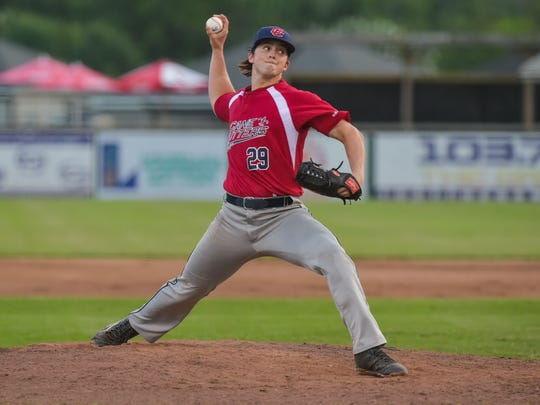Carlisle Koestler on the mound as The Cane Cutters dominate the two-time defending champion Brazos Valley Bombers on Sunday at Fabacher Field.