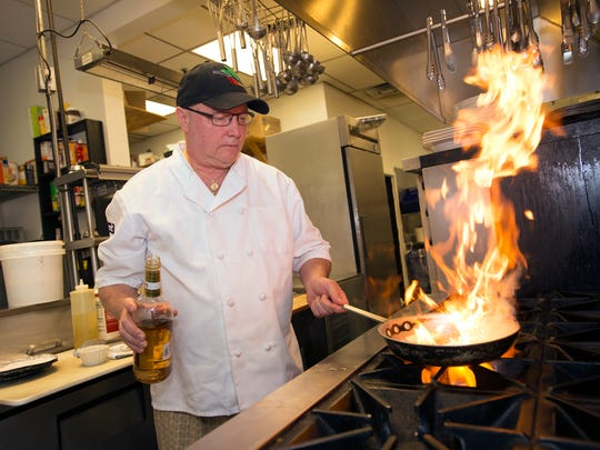P.S. Restuarant owner Rick Dodd cooks veal calvados with with apple schnapps.