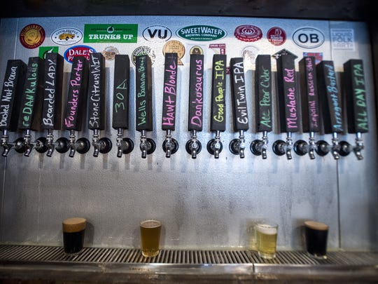 A flight of beers is shown after being poured on Tuesday,